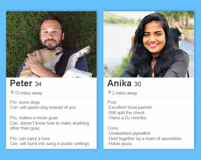 best Tinder bios and Tinder profile tips like a pros vs cons list