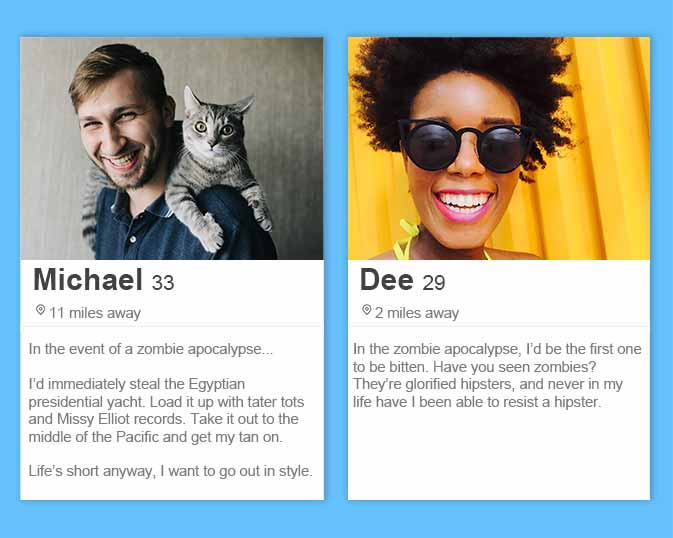 best Tinder bios and Tinder profile tips including a zombie apocalypse game